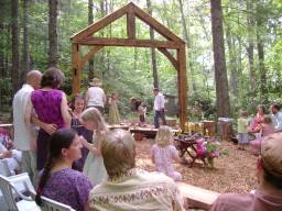 40 to 60 people can gather at the cathedral in the woods.