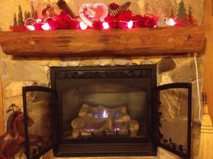 Cozy fireplace in cabin