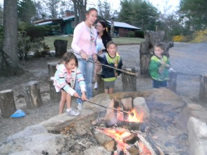 Families enjoy roasting marshmellows with dog in tow.