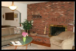 Cloud 9 Living Room with gas log fireplace.